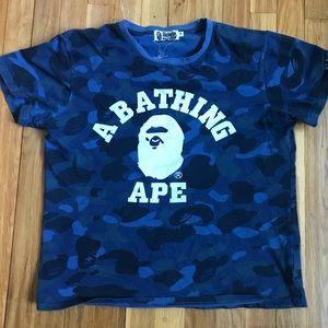Bape Shirts - Navy Blue Camo Bape T-Shirt 054c7f01c53